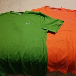 (2) S/S Under Armour Workout Shirts Green & Orange